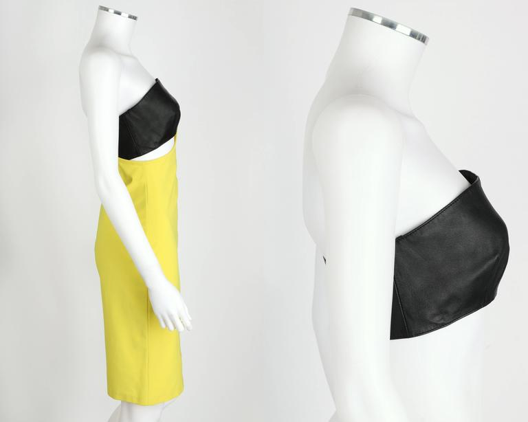 VERSUS GIANNI VERSACE c.1990 Yellow Black One Shoulder Dress Leather Bandeau Set In New Condition For Sale In Thiensville, WI