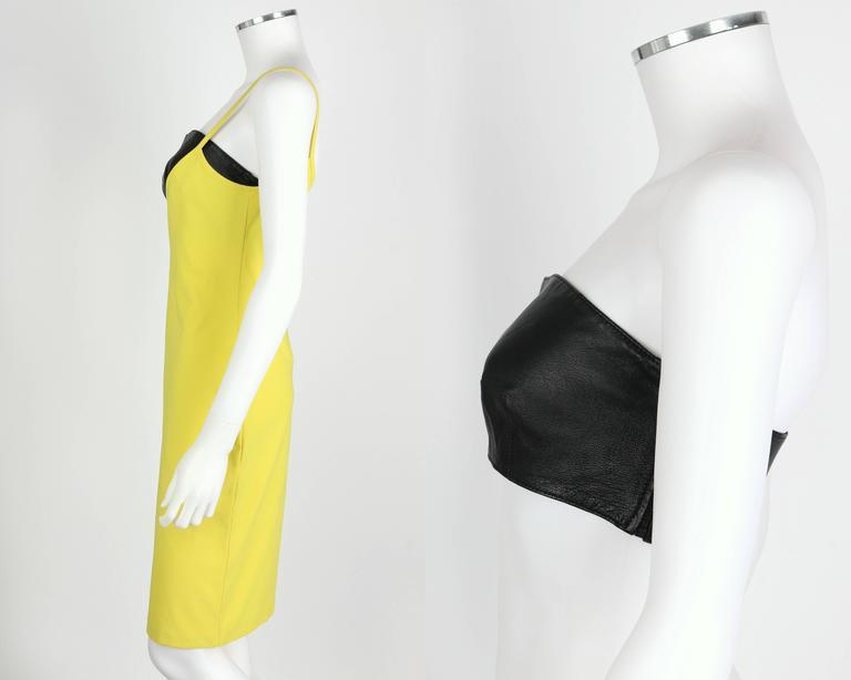VERSUS GIANNI VERSACE c.1990 Yellow Black One Shoulder Dress Leather Bandeau Set For Sale 1
