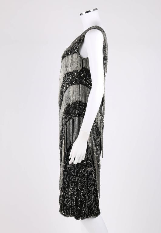 COUTURE c.1920's Black Silk Beaded Tiered Fringe Floral Flapper Evening Dress 5