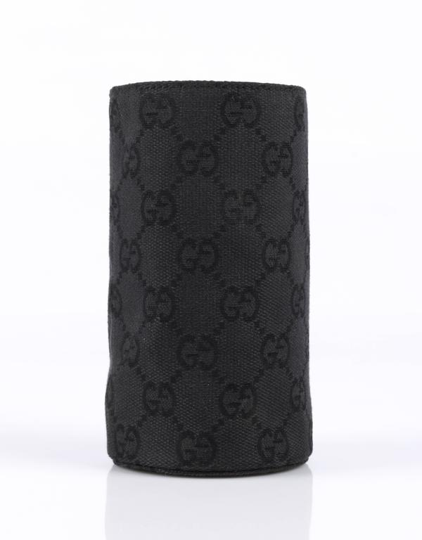 Women's or Men's GUCCI Signature GG Gucissima Print Black Canvas Coozy Koozie Ltd Edition Gift For Sale