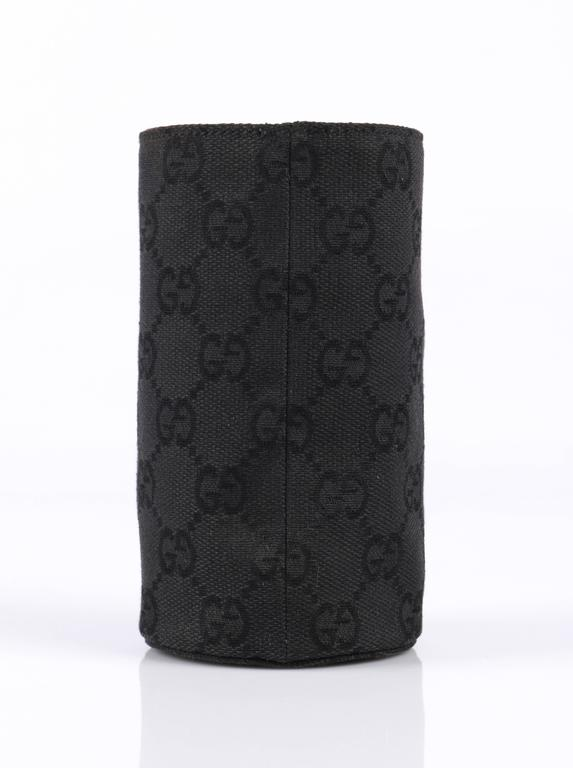 GUCCI Signature GG Gucissima Print Black Canvas Coozy Koozie Ltd Edition Gift For Sale 1