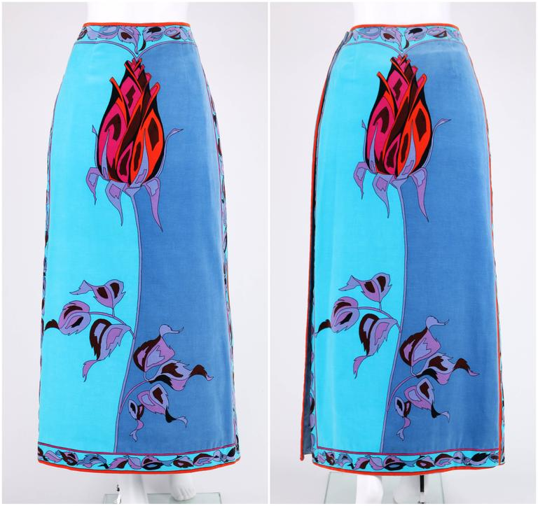 EMILIO PUCCI c.1970's Teal Blue Long Stem Rose 2 Piece Blouse Maxi Skirt Set For Sale 1