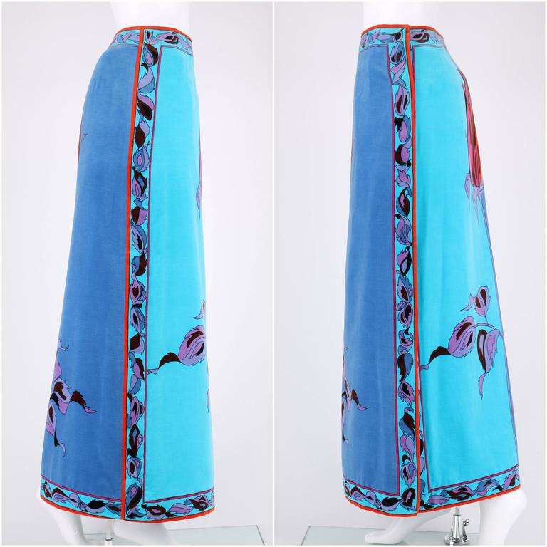 EMILIO PUCCI c.1970's Teal Blue Long Stem Rose 2 Piece Blouse Maxi Skirt Set 6