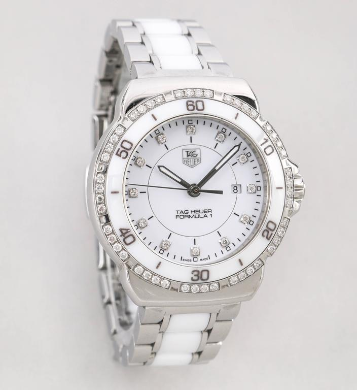 00b2dc7685a Authentic Swiss made Tag Heuer Ladies Formula 1 White Dial Diamond  Stainless steel Ceramic Chronograph Watch