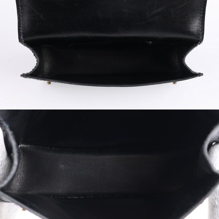 Hermes C 1985 Black Calf Skin Leather Tie Belt Waist Bag