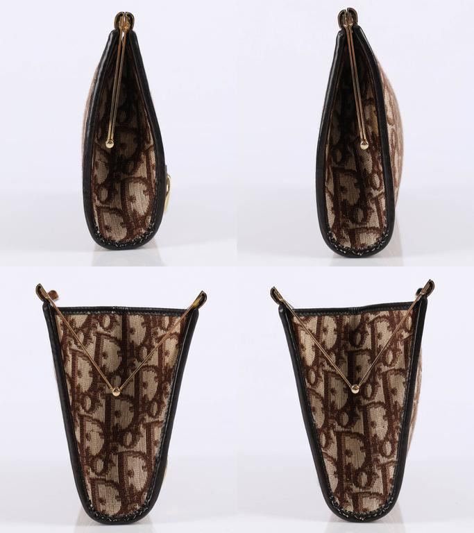 6fbb69e6f016 CHRISTIAN DIOR c.1970 s Brown Signature Monogram Canvas Leather Clutch  Purse Bag In Excellent Condition