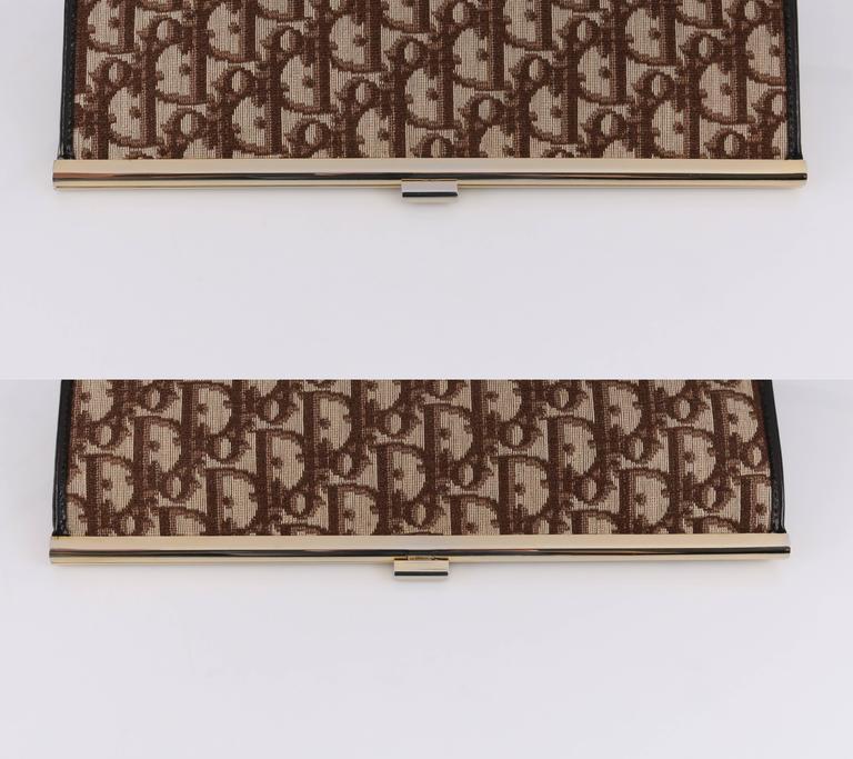 eec74f2d6195 CHRISTIAN DIOR c.1970 s Brown Signature Monogram Canvas Leather Clutch  Purse Bag For Sale 2