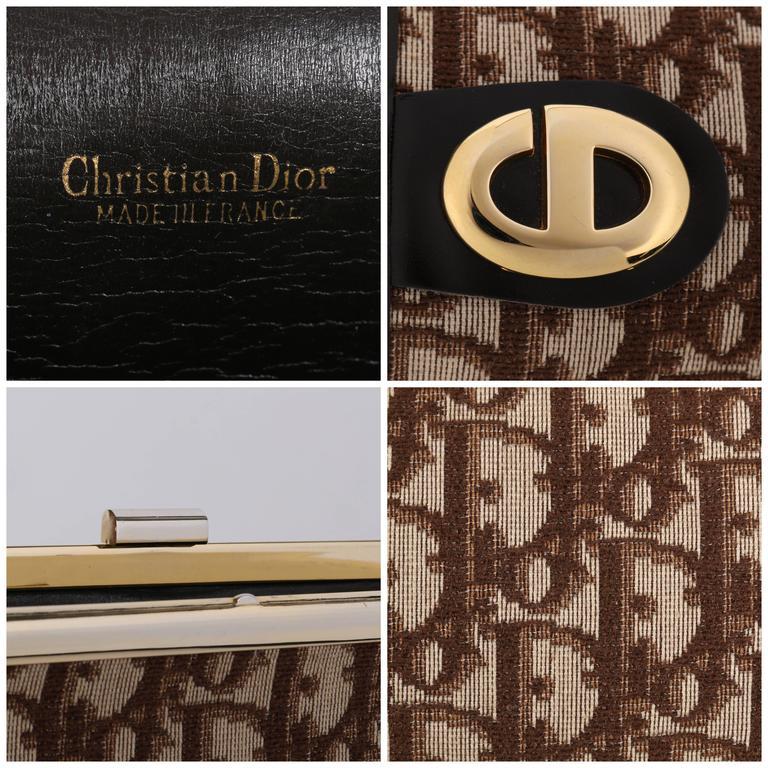 ced446ec059a CHRISTIAN DIOR c.1970 s Brown Signature Monogram Canvas Leather Clutch  Purse Bag For Sale 1
