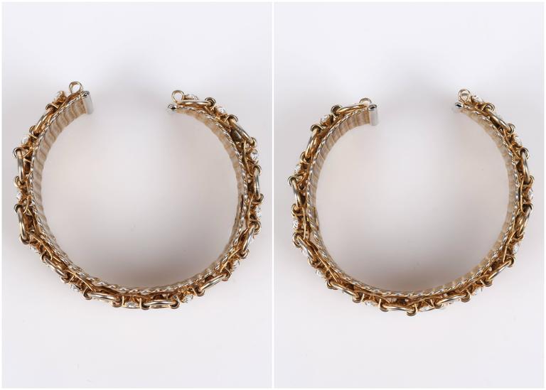HATTIE CARNEGIE c.1960's Gold Marquise Crystal Rhinestone Wide Cuff Bracelet For Sale 4