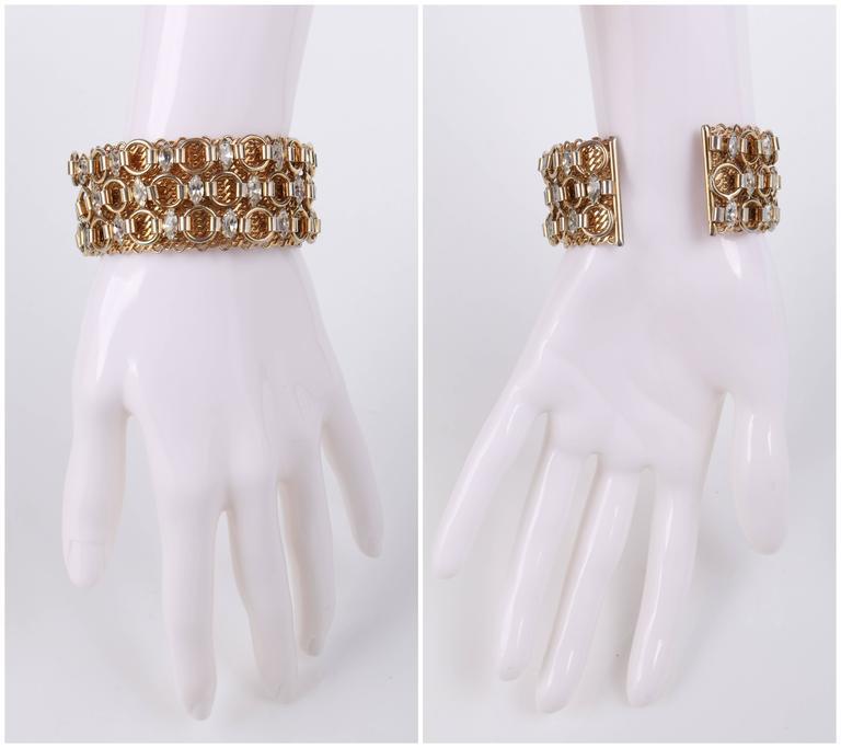HATTIE CARNEGIE c.1960's Gold Marquise Crystal Rhinestone Wide Cuff Bracelet For Sale 2