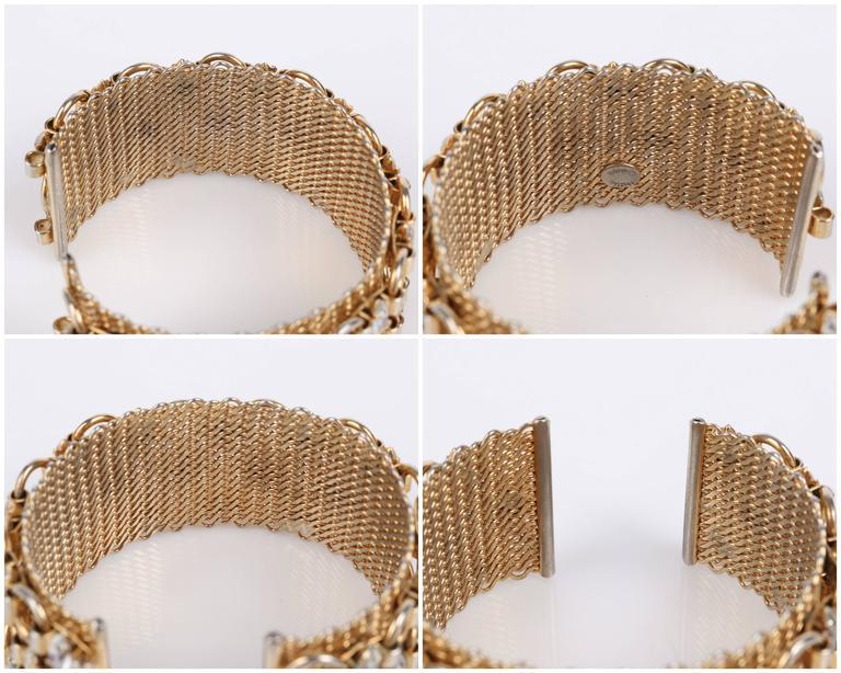 HATTIE CARNEGIE c.1960's Gold Marquise Crystal Rhinestone Wide Cuff Bracelet For Sale 3