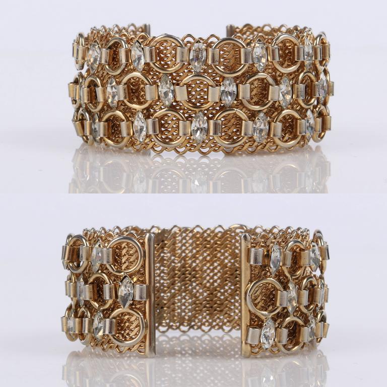 Women's or Men's HATTIE CARNEGIE c.1960's Gold Marquise Crystal Rhinestone Wide Cuff Bracelet For Sale