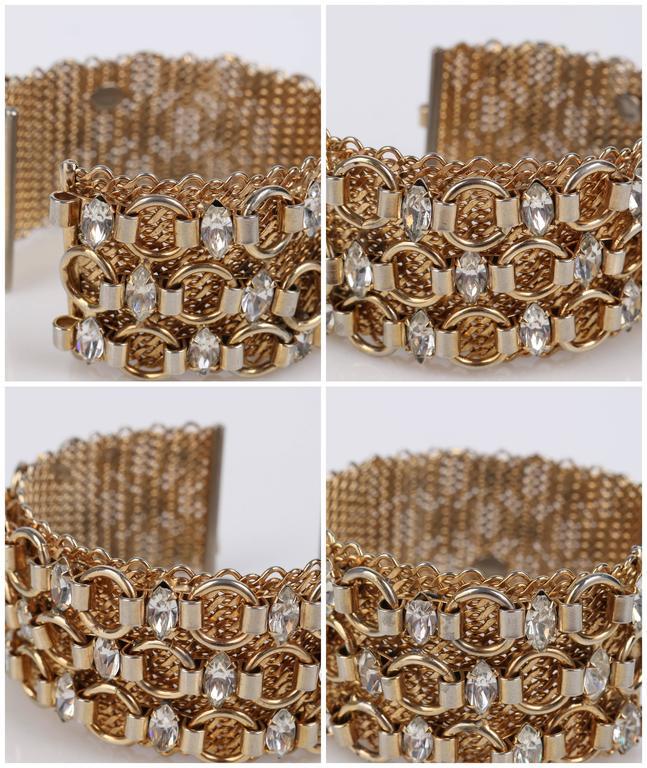 HATTIE CARNEGIE c.1960's Gold Marquise Crystal Rhinestone Wide Cuff Bracelet For Sale 5