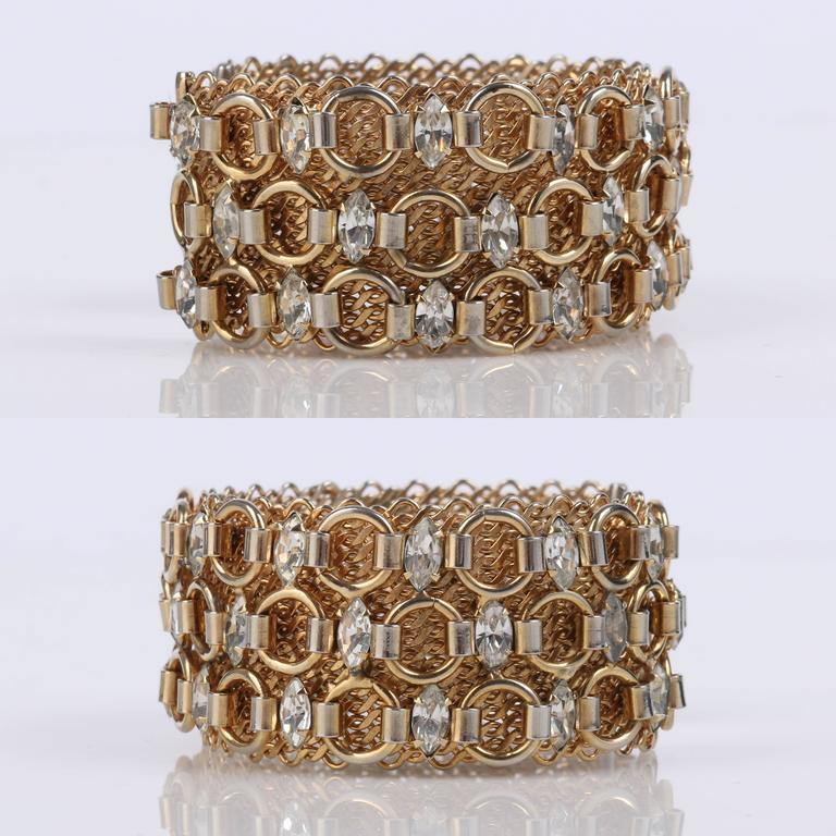 HATTIE CARNEGIE c.1960's Gold Marquise Crystal Rhinestone Wide Cuff Bracelet For Sale 1