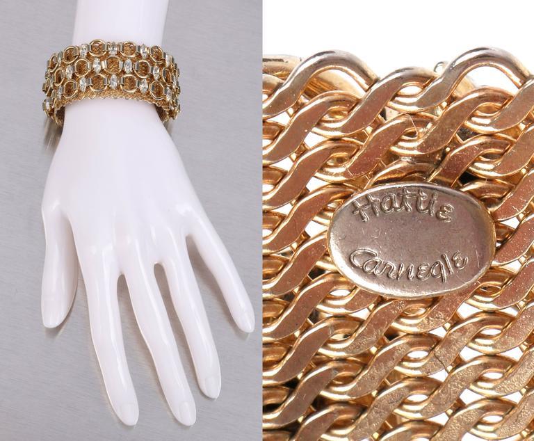 HATTIE CARNEGIE c.1960's Gold Marquise Crystal Rhinestone Wide Cuff Bracelet In Excellent Condition For Sale In Thiensville, WI