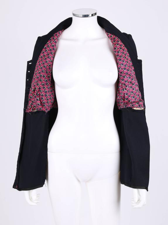 EDWARDIAN c.1910's WWI Navy Blue Wool Floral Embroidered Pleated Peplum Jacket For Sale 1