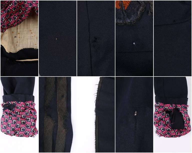 EDWARDIAN c.1910's WWI Navy Blue Wool Floral Embroidered Pleated Peplum Jacket For Sale 5