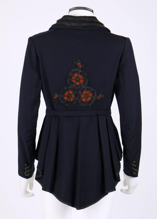 EDWARDIAN c.1910's WWI Navy Blue Wool Floral Embroidered Pleated Peplum Jacket In Good Condition For Sale In Thiensville, WI