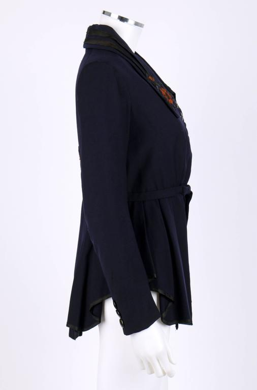 Black EDWARDIAN c.1910's WWI Navy Blue Wool Floral Embroidered Pleated Peplum Jacket For Sale