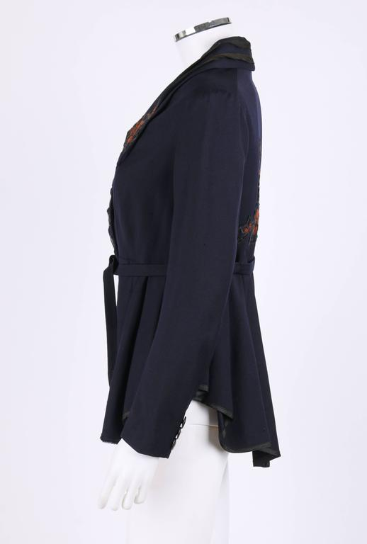 Women's EDWARDIAN c.1910's WWI Navy Blue Wool Floral Embroidered Pleated Peplum Jacket For Sale
