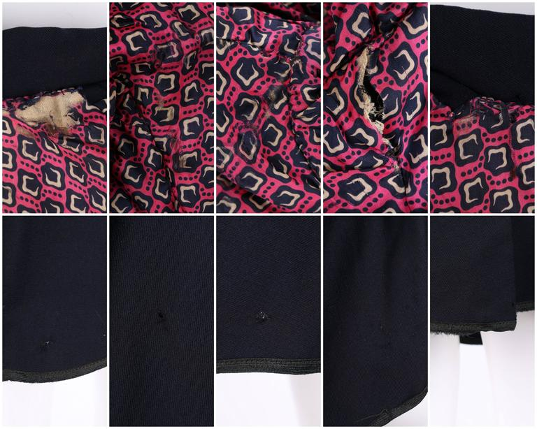 EDWARDIAN c.1910's WWI Navy Blue Wool Floral Embroidered Pleated Peplum Jacket For Sale 4
