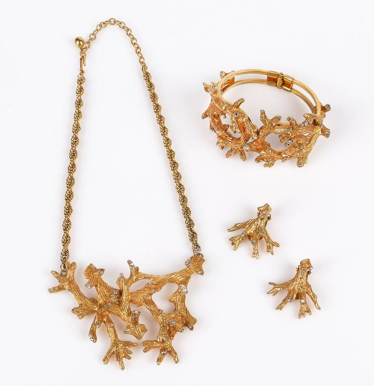 HATTIE CARNEGIE c.1960's Gold Crystal Branch Earrings Necklace Bracelet Parure 2