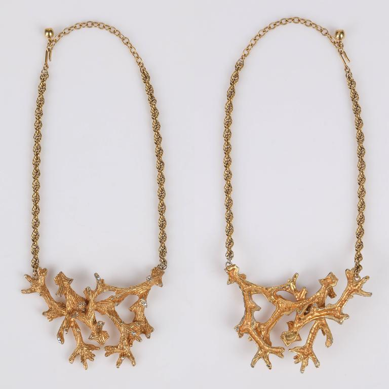 HATTIE CARNEGIE c.1960's Gold Crystal Branch Earrings Necklace Bracelet Parure 3