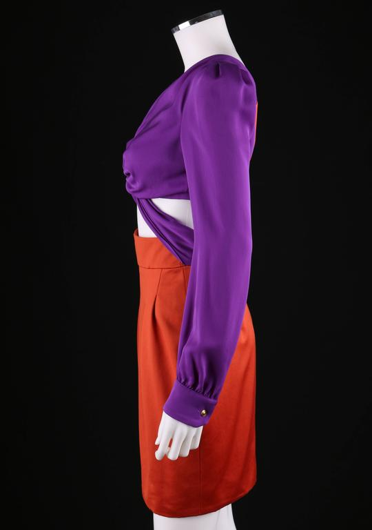 GUCCI S/S 2011 Purple Orange Color Block Knotted Midriff Cutout Cocktail Dress For Sale 1