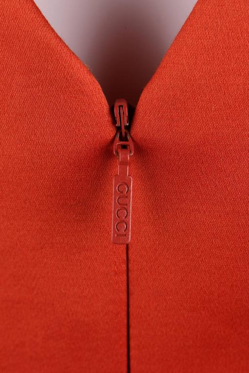 GUCCI S/S 2011 Purple Orange Color Block Knotted Midriff Cutout Cocktail Dress For Sale 3