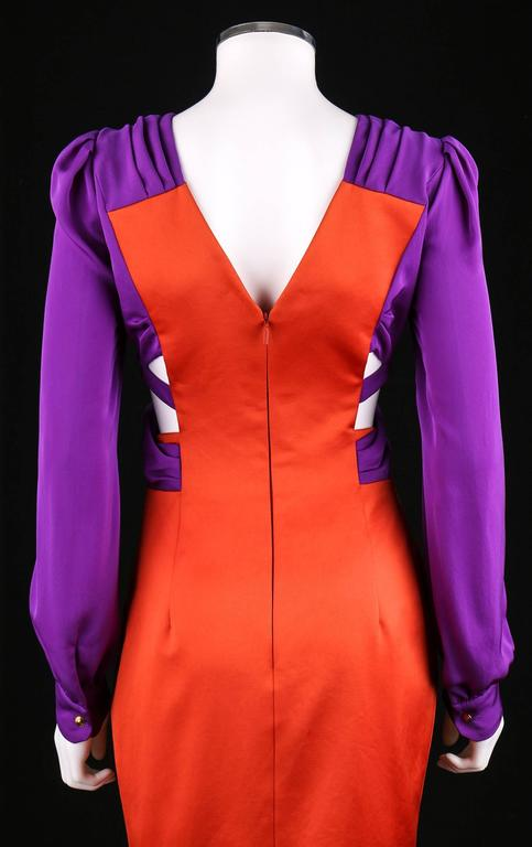 Red GUCCI S/S 2011 Purple Orange Color Block Knotted Midriff Cutout Cocktail Dress For Sale