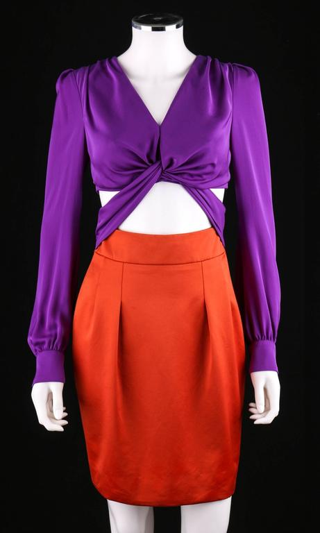 Gucci S S 2011 Purple Orange Color Block Knotted Midriff