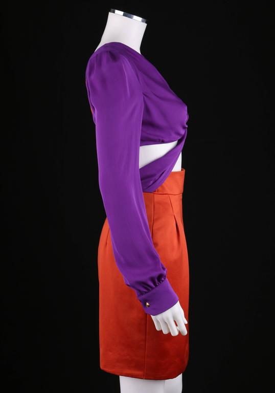 Women's GUCCI S/S 2011 Purple Orange Color Block Knotted Midriff Cutout Cocktail Dress For Sale