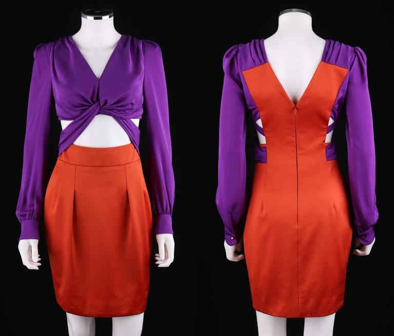 GUCCI S/S 2011 Purple Orange Color Block Knotted Midriff Cutout Cocktail Dress In Excellent Condition For Sale In Thiensville, WI