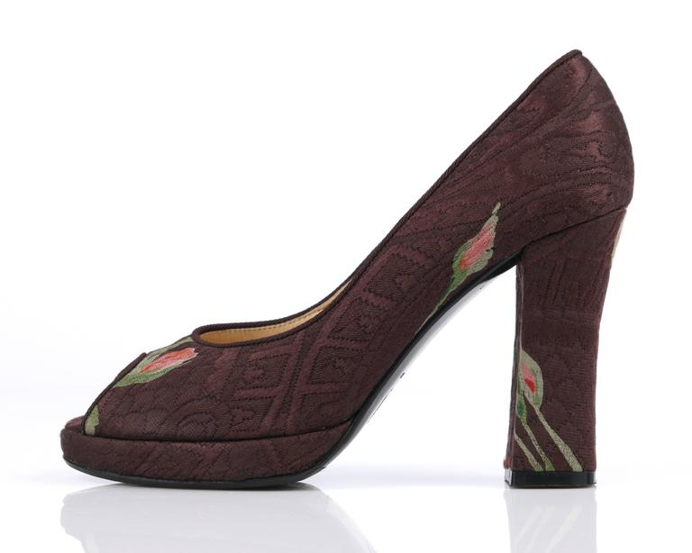 DOLCE & GABBANA Brown Floral Brocade Peep Toe Platform Pumps Heels Size 36 In Excellent Condition For Sale In Thiensville, WI
