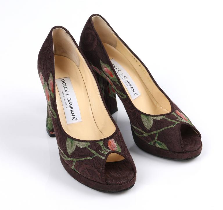DOLCE & GABBANA Brown Floral Brocade Peep Toe Platform Pumps Heels Size 36 For Sale 1