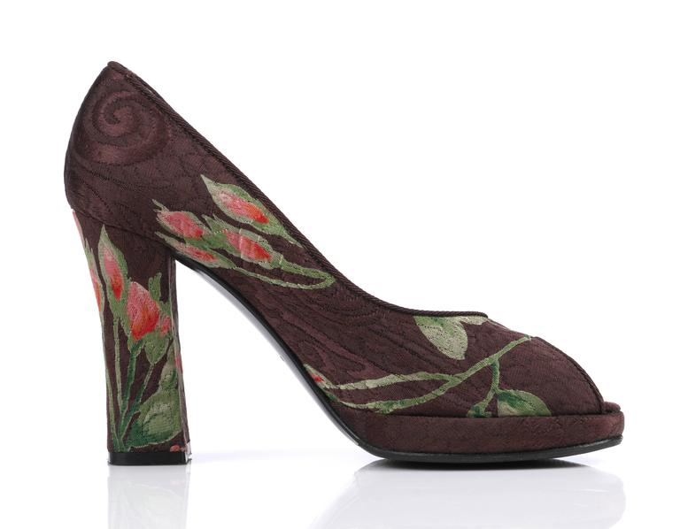 Women's DOLCE & GABBANA Brown Floral Brocade Peep Toe Platform Pumps Heels Size 36 For Sale