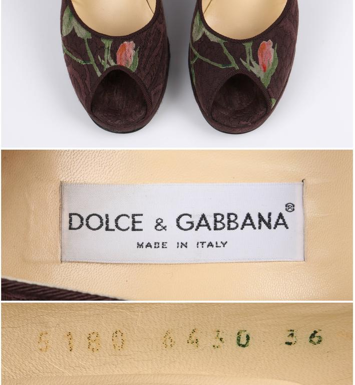 DOLCE & GABBANA Brown Floral Brocade Peep Toe Platform Pumps Heels Size 36 For Sale 4