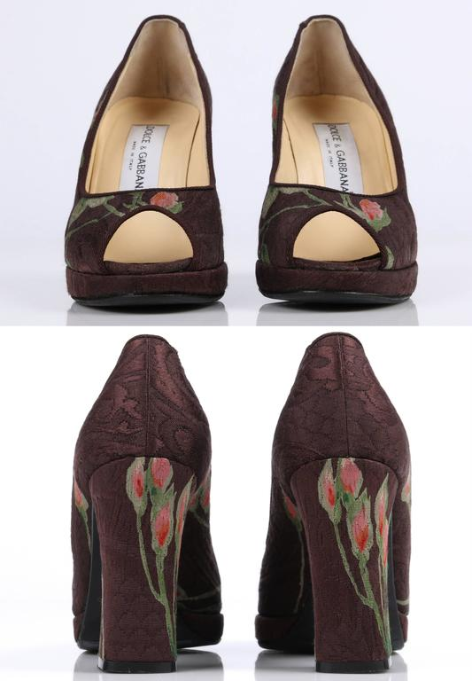 DOLCE & GABBANA Brown Floral Brocade Peep Toe Platform Pumps Heels Size 36 For Sale 2