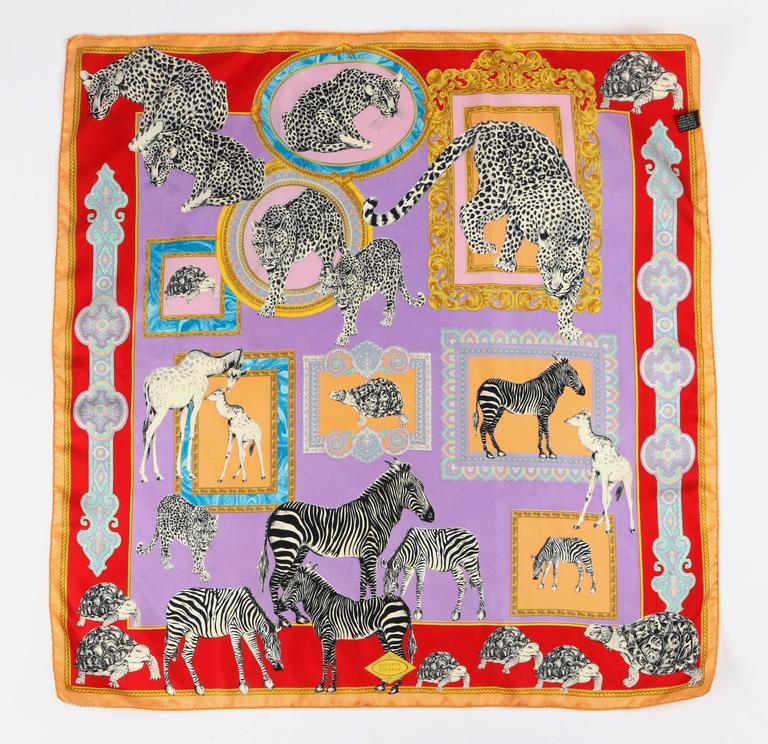 atelier versace multicolored baroque frame animal print 100 silk scarf at 1stdibs. Black Bedroom Furniture Sets. Home Design Ideas