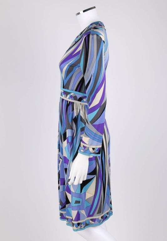 EMILIO PUCCI c.1960's Blue Signature Print V-neckline Long Sleeve Silk Dress For Sale 1