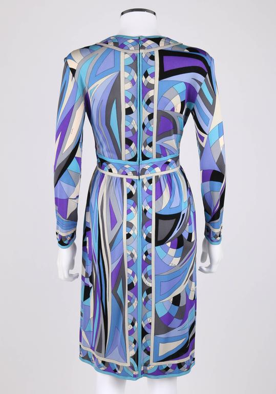 Women's EMILIO PUCCI c.1960's Blue Signature Print V-neckline Long Sleeve Silk Dress For Sale