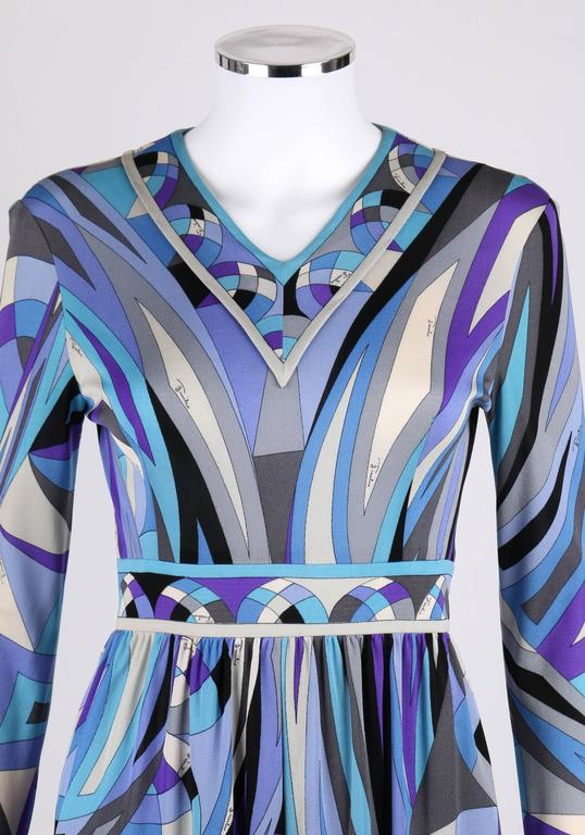 EMILIO PUCCI c.1960's Blue Signature Print V-neckline Long Sleeve Silk Dress For Sale 2