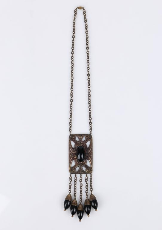 ART DECO c.1920's Bronze Black Onyx Large Pendant Bead Dangles Chain Necklace 3