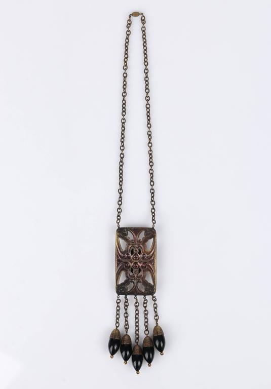 ART DECO c.1920's Bronze Black Onyx Large Pendant Bead Dangles Chain Necklace 4