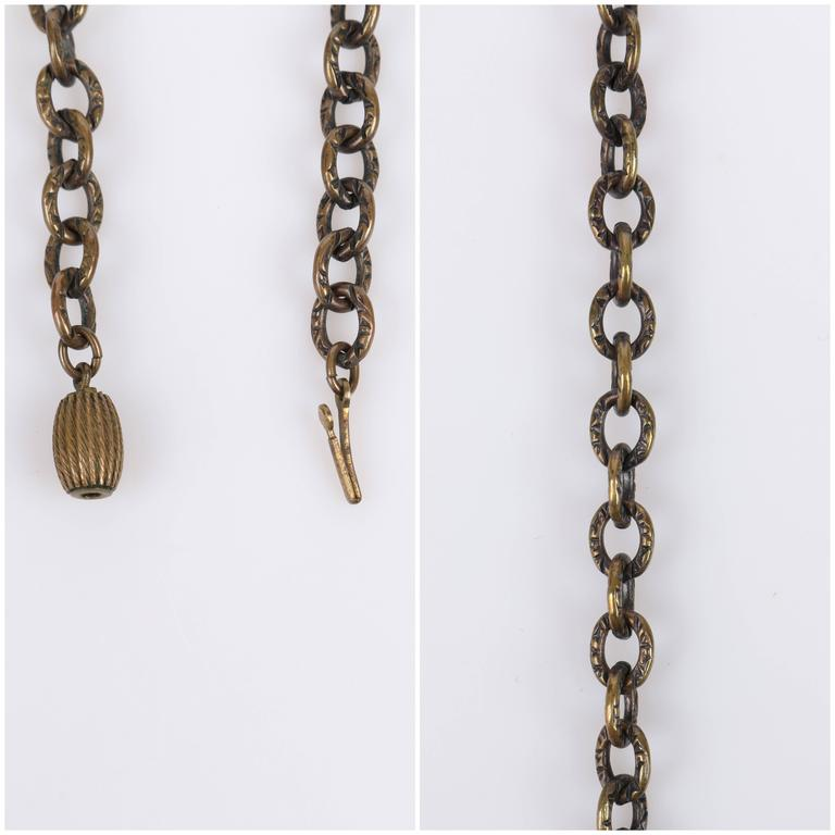 ART DECO c.1920's Bronze Black Onyx Large Pendant Bead Dangles Chain Necklace 9