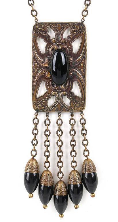 ART DECO c.1920's Bronze Black Onyx Large Pendant Bead Dangles Chain Necklace 2