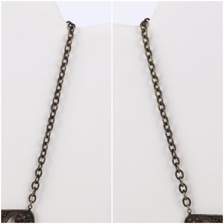 ART DECO c.1920's Bronze Black Onyx Large Pendant Bead Dangles Chain Necklace 8