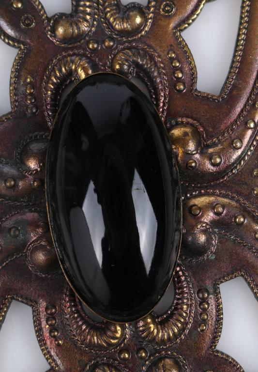 ART DECO c.1920's Bronze Black Onyx Large Pendant Bead Dangles Chain Necklace 10