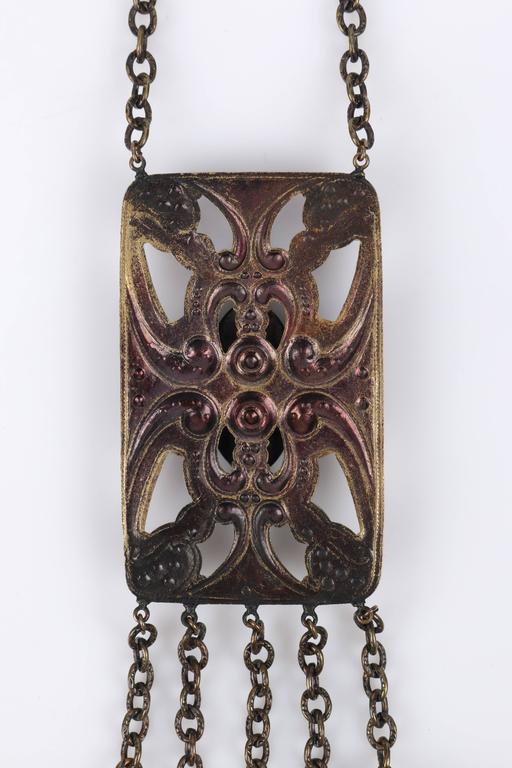 ART DECO c.1920's Bronze Black Onyx Large Pendant Bead Dangles Chain Necklace 7