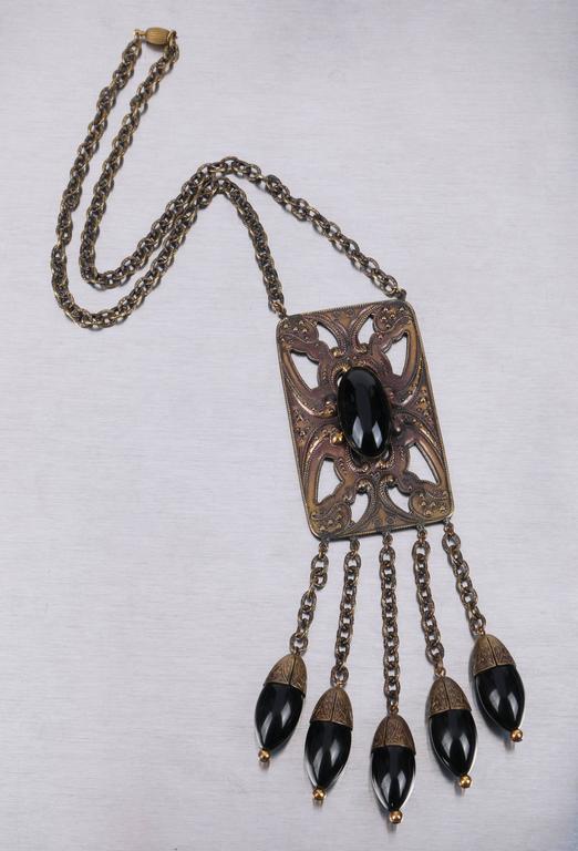ART DECO c.1920's Bronze Black Onyx Large Pendant Bead Dangles Chain Necklace 5
